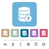Database filter flat icons on color rounded square backgrounds - Database filter white flat icons on color rounded square backgrounds. 6 bonus icons included