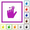 Right handed slide left gesture flat framed icons - Right handed slide left gesture flat color icons in square frames on white background