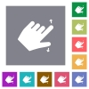 Left handed pinch open gesture square flat icons - Left handed pinch open gesture flat icons on simple color square backgrounds