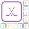Hockey sticks with puck simple icons - Hockey sticks with puck simple icons in color rounded square frames on white background