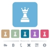 Black chess queen flat icons on color rounded square backgrounds - Black chess queen white flat icons on color rounded square backgrounds. 6 bonus icons included