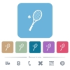 Tennis racket with ball white flat icons on color rounded square backgrounds. 6 bonus icons included - Tennis racket with ball flat icons on color rounded square backgrounds
