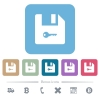 Encrypt file flat icons on color rounded square backgrounds - Encrypt file white flat icons on color rounded square backgrounds. 6 bonus icons included