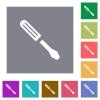 Single screwdriver square flat icons - Single screwdriver flat icons on simple color square backgrounds