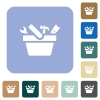 Toolbox rounded square flat icons - Toolbox white flat icons on color rounded square backgrounds