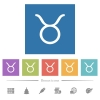 Taurus zodiac symbol flat white icons in square backgrounds - Taurus zodiac symbol flat white icons in square backgrounds. 6 bonus icons included.
