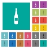Wine bottle with label square flat multi colored icons - Wine bottle with label multi colored flat icons on plain square backgrounds. Included white and darker icon variations for hover or active effects.