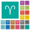 Aries zodiac symbol square flat multi colored icons - Aries zodiac symbol multi colored flat icons on plain square backgrounds. Included white and darker icon variations for hover or active effects.