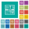 Open toolbox square flat multi colored icons - Open toolbox multi colored flat icons on plain square backgrounds. Included white and darker icon variations for hover or active effects.