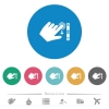 Left handed scroll down gesture flat round icons - Left handed scroll down gesture flat white icons on round color backgrounds. 6 bonus icons included.