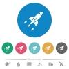 Rocket flat round icons - Rocket flat white icons on round color backgrounds. 6 bonus icons included.