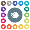 Right handed move down gesture flat white icons on round color backgrounds - Right handed move down gesture flat white icons on round color backgrounds. 17 background color variations are included.