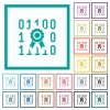 Digital certificate flat color icons with quadrant frames - Digital certificate flat color icons with quadrant frames on white background