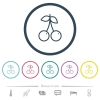 Pair of cherry flat color icons in round outlines - Pair of cherry flat color icons in round outlines. 6 bonus icons included.