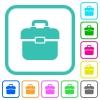 Toolbox vivid colored flat icons - Toolbox vivid colored flat icons in curved borders on white background