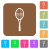 Single tennis racket rounded square flat icons - Single tennis racket flat icons on rounded square vivid color backgrounds.