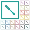 Single screwdriver flat color icons with quadrant frames - Single screwdriver flat color icons with quadrant frames on white background
