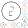 digital number two of seven segment type flat icons with outlines - digital number two of seven segment type flat color icons in round outlines on white background