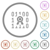 Digital certificate flat icons with outlines - Digital certificate flat color icons in round outlines on white background