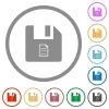 File properties flat icons with outlines - File properties flat color icons in round outlines on white background