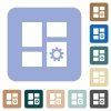 Dashboard settings white flat icons on color rounded square backgrounds - Dashboard settings rounded square flat icons