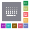 Set of screwdriver bits square flat icons - Set of screwdriver bits flat icons on simple color square backgrounds