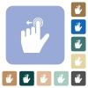 Right handed slide left gesture rounded square flat icons - Right handed slide left gesture white flat icons on color rounded square backgrounds