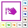 Right handed scroll down gesture flat framed icons - Right handed scroll down gesture flat color icons in square frames on white background