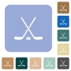 Hockey sticks with puck rounded square flat icons - Hockey sticks with puck white flat icons on color rounded square backgrounds