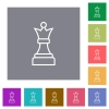 White chess queen square flat icons - White chess queen flat icons on simple color square backgrounds