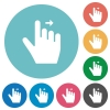 Right handed move right gesture flat white icons on round color backgrounds