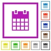 Single calendar flat framed icons - Single calendar flat color icons in square frames on white background