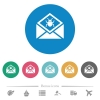 Open mail with malware symbol flat round icons - Open mail with malware symbol flat white icons on round color backgrounds. 6 bonus icons included.