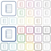 Notepad outlined flat color icons - Notepad color flat icons in rounded square frames. Thin and thick versions included.