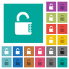 Unlocked combination lock with side numbers square flat multi colored icons - Unlocked combination lock with side numbers multi colored flat icons on plain square backgrounds. Included white and darker icon variations for hover or active effects.
