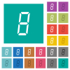 digital number eight of seven segment type square flat multi colored icons - digital number eight of seven segment type multi colored flat icons on plain square backgrounds. Included white and darker icon variations for hover or active effects.