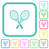 Two tennis rackets vivid colored flat icons - Two tennis rackets vivid colored flat icons in curved borders on white background