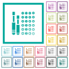 Set of screwdriver bits flat color icons with quadrant frames - Set of screwdriver bits flat color icons with quadrant frames on white background