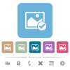 Image ok flat icons on color rounded square backgrounds - Image ok white flat icons on color rounded square backgrounds. 6 bonus icons included