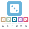 Dice three flat icons on color rounded square backgrounds - Dice three white flat icons on color rounded square backgrounds. 6 bonus icons included