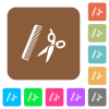 Comb and scissors flat icons on rounded square vivid color backgrounds. - Comb and scissors rounded square flat icons