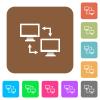 Data syncronization flat icons on rounded square vivid color backgrounds. - Data syncronization rounded square flat icons