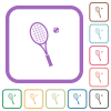 Tennis racket with ball simple icons - Tennis racket with ball simple icons in color rounded square frames on white background