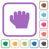Right handed grab gesture simple icons - Right handed grab gesture simple icons in color rounded square frames on white background