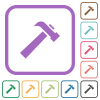 Old hammer simple icons - Old hammer simple icons in color rounded square frames on white background