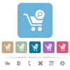 Search cart item flat icons on color rounded square backgrounds - Search cart item white flat icons on color rounded square backgrounds. 6 bonus icons included
