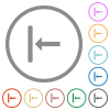 Align to left flat icons with outlines - Align to left flat color icons in round outlines on white background