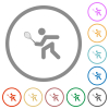 Tennis player flat color icons in round outlines on white background - Tennis player flat icons with outlines