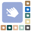 Right handed move down gesture rounded square flat icons - Right handed move down gesture white flat icons on color rounded square backgrounds