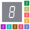 digital number eight of seven segment type square flat icons - digital number eight of seven segment type flat icons on simple color square backgrounds